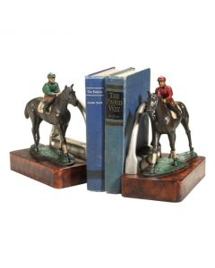 Oklahoma Casting Jockey in Silks & Horse Bookend Pair