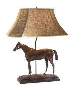 Oklahoma Casting Thoroughbred Horse Lamp w/ Linen Shade