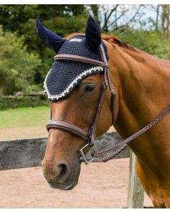 Equine Couture Fly Bonnet w/ Pearls & Crystals