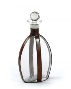 Equestrian Brown Leather Strapping Quogue Decanter