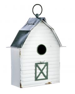 Green & White Enamel Birdhouse