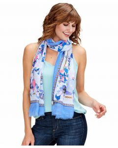 Two's Company Butterfly and Flower Print Scarf