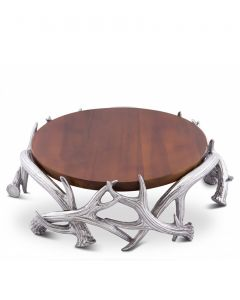 """13"""" Arthur Court Wooden Cheese Pedestal With Antlers"""