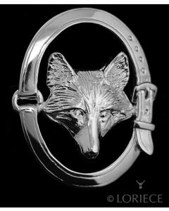 Silver Fox Mask in Oval Pin