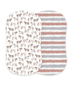 Newcastle Classics Wild Horses and Western Stripe Cotton Bassinet Sheets