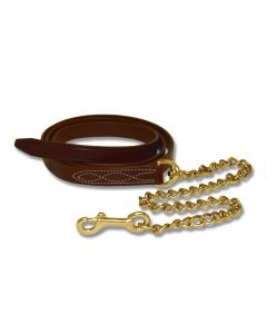 Walsh Fancy Stitched Leather Lead with 30 inch Chain