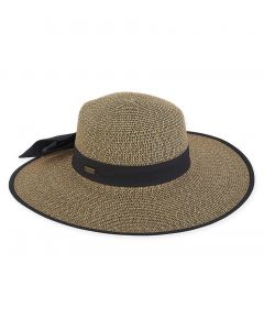 """Paperbraid 4"""" Brim Hat with Trim and Self Tied Bow"""