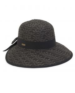 """Paperstraw Backless 4"""" Wide Brim Hat with Bow Headband"""